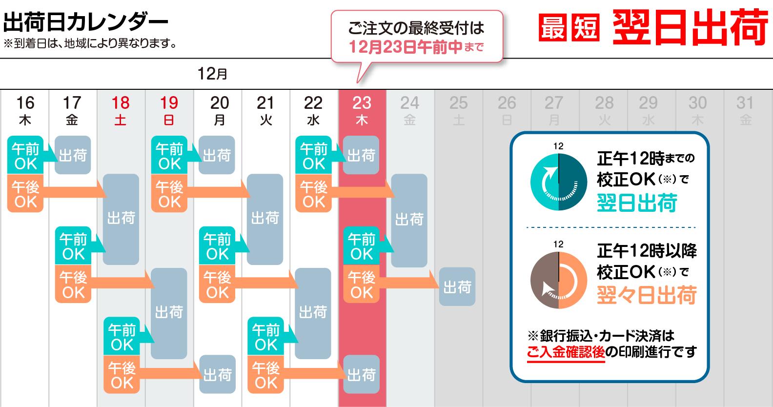 納期カレンダー